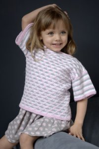 Plymouth Baby & Children Patterns - 2570 Girl's Quilt Stitch Boatneck Pullover Pattern
