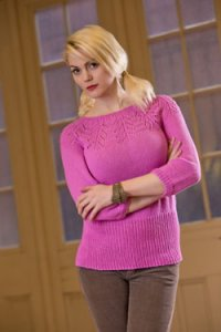 Plymouth Yarn Sweater & Pullover Patterns - 2568 Woman's Lace Yoke Pullover Pattern