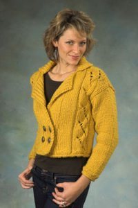 Plymouth Jacket & Cardigan Patterns - 2256 Double Breasted Cropped Cardigan Pattern