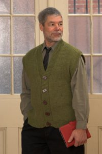 Plymouth Yarn Adult Vest Patterns - 2505 Man's V-Neck Cardi Vest Pattern