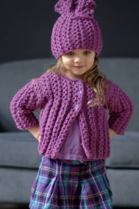Plymouth Baby & Children Patterns - 2620 Chain Rib Girl's Cardi And Hat Pattern
