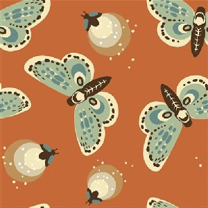 Birch Fabrics Fort Firefly Fabric - Fireflies - Coral