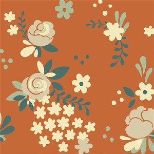 Birch Fabrics Fort Firefly Fabric - Rose Garden - Coral