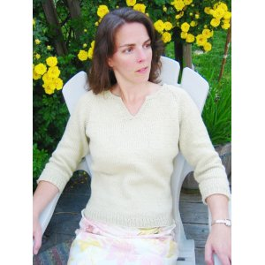 Knitting Pure and Simple Women's Sweater Patterns - 0257 - Split Neck T Shirt for Women Pattern