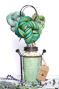 Jimmy Beans Wool Koigu Yarn Bouquets - Linen Stitch Scarf Bouquet - Green/Yellow
