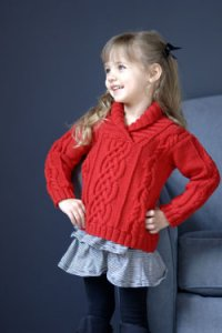 Plymouth Baby & Children Patterns - 2566 Kid's Shawl Collar Cabled Pullover Pattern