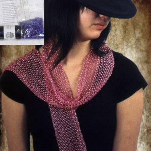 Swallow Hill Creations April Beaded Scarf - French Navy