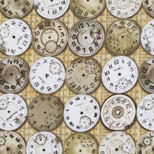 Tim Holtz Eclectic Elements Fabric - Time Piece - Neutral