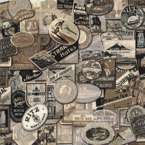 Tim Holtz Eclectic Elements Fabric - Travel - Taupe