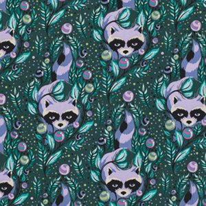 Tula Pink Acacia Fabric - Racoon - Blueberry (backordered)