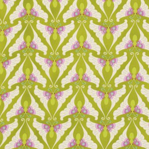 Heather Bailey Lottie Da Fabric - Papillon - Olive