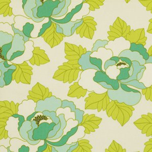 Heather Bailey Lottie Da Fabric - Go-Go Rose - Turquoise