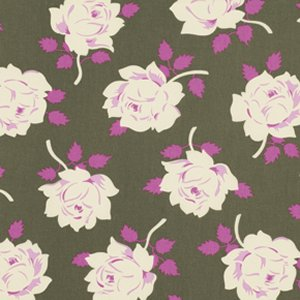 Heather Bailey Lottie Da Fabric - Vintage Rose - Charcoal