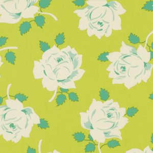 Heather Bailey Lottie Da Fabric - Vintage Rose - Lime