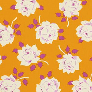 Heather Bailey Lottie Da Fabric - Vintage Rose - Tangerine