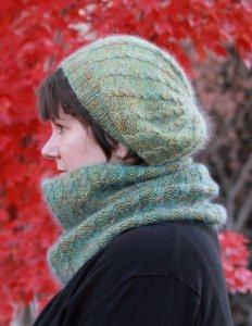 Madelinetosh Merino DK and Debbie Bliss Angel Peavine Hat and Cowl Set Kit - Scarf and Shawls