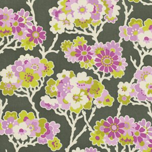 Heather Bailey Lottie Da Fabric - Sprig - Charcoal