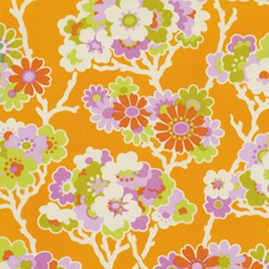 Heather Bailey Lottie Da Fabric - Sprig - Tangerine