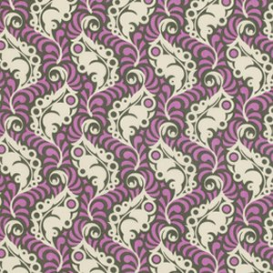Heather Bailey Lottie Da Fabric - Feather Leaf - Charcoal