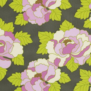 Heather Bailey Lottie Da Fabric - Go-Go Rose - Charcoal