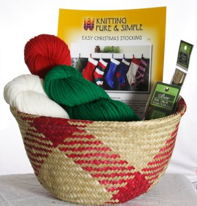 Holiday Gift Kit- Simple Christmas Stocking Basket Kit - Gift, Needle and Pattern Sets