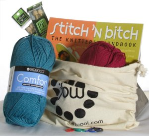 Holiday Gift Kit- Jimmy Beans Wool Learn to Knit Kit - Gift, Needle and Pattern Sets