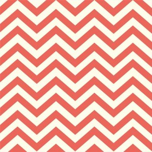 Birch Fabrics Elk Grove Knits Fabric - Skinny Chevron Coral (Backordered)