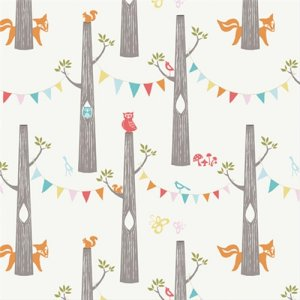 Birch Fabrics Just For Fun Knits Fabric - Woodland Friends - Cream (Backordered)