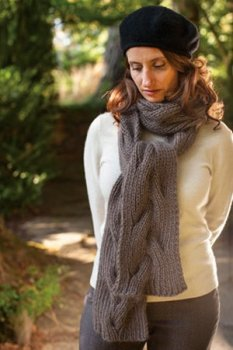 Rowan Kid Classic Reversible Cable Neck Wrap & Scarf Kit - Scarf and Shawls