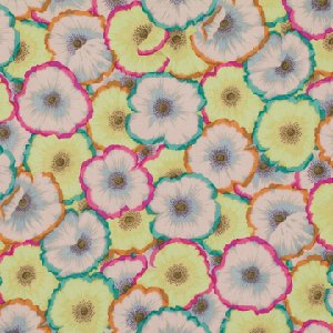 Philip Jacobs Picotte Poppies Fabric - Lime