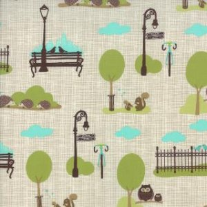 Kate & Birdie Bluebird Park Fabric - City Park Scenic - Stone (13102 13)