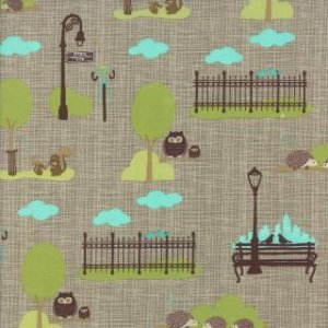 Kate & Birdie Bluebird Park Fabric - City Park Scenic - Lamp Post (13102 16)