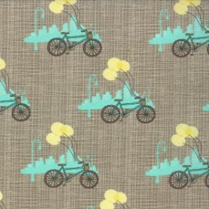 Kate & Birdie Bluebird Park Fabric - Bicycle - Lamp Post (13103 16)