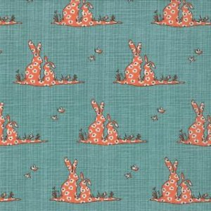 Kate & Birdie Bluebird Park Fabric - Bunnies - Teal (13105 12)