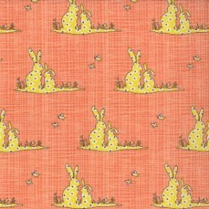 Kate & Birdie Bluebird Park Fabric - Bunnies - Tangerine (13105 15)