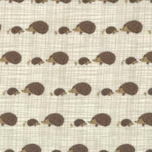 Kate & Birdie Bluebird Park Fabric - Hedgehogs - Stone (13107 15)
