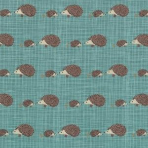 Kate & Birdie Bluebird Park Fabric - Hedgehogs - Teal (13107 16)