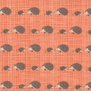 Kate & Birdie Bluebird Park Fabric - Hedgehogs - Tangerine (13107 17)
