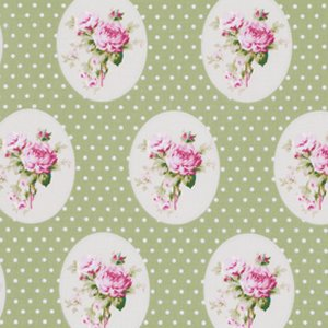 Tanya Whelan Sunshine Roses Fabric - Old Time Rose - Green