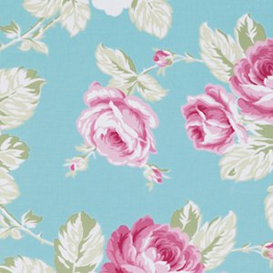 Tanya Whelan Sunshine Roses Fabric - Full Bloom Roses - Blue