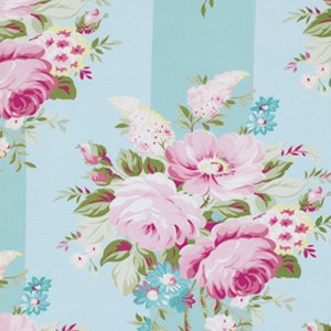 Tanya Whelan Sunshine Roses Fabric - Picnic Bouquet - Blue