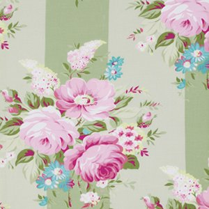 Tanya Whelan Sunshine Roses Fabric - Picnic Bouquet - Green