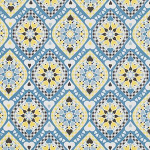 Jenean Morrison Wishing Well Fabric - Kiss & Tell - Blue