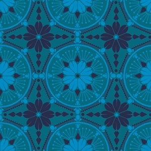 Anna Maria Horner True Colors Fabric - Medallion - Aquamarine