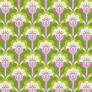 Heather Bailey True Colors Fabric - Pop Blossom - Green