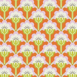 Heather Bailey True Colors Fabric - Pop Blossom - Persimmon