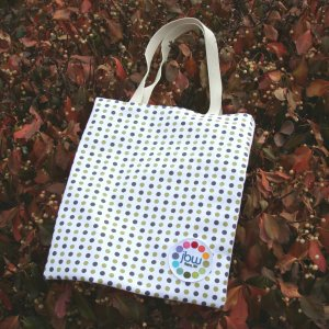 Jimmy Beans Wool Logo Gear - Brown/Olive Polka Dot Tote Bag