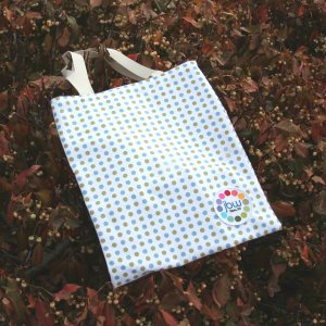 Jimmy Beans Wool Logo Gear - Blue/Olive Polka Dot Tote Bag