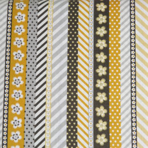 AdornIt Crazy for Daisies Fabric - Daisy Ticker Tape - Sunshine