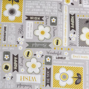 AdornIt Crazy for Daisies Fabric - Daisy Wordplay - Sunshine